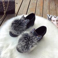 内增高毛毛鞋女秋冬韩版烫钻兔耳朵加绒狐狸真毛可爱坡跟豆豆棉鞋 黑白色 单鞋