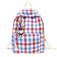 格子背包书包女韩版学院风高中大学生帆布包双肩包