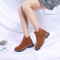 2019春季新款时装靴英伦韩版女短靴粗跟侧拉链鞋百搭马丁靴