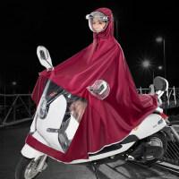 捷�N骑行雨衣雨披成人套装雨具双帽檐摩托车电动连体雨衣单人双人