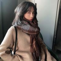 日系蓝色格纹流苏仿羊绒围巾女冬季保暖韩版学生长款披肩两用围脖