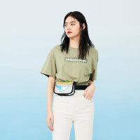 太平鸟圆领短袖T恤女2019春夏潮流新款绿色宽松显瘦清凉字母上衣