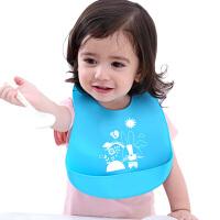 宝宝辅食口水接饭围兜防水硅胶小孩防漏饭婴儿围嘴儿童吃饭都软