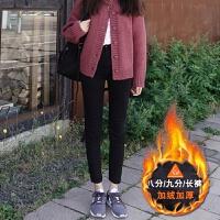 黑色加绒牛仔裤女高腰冬季2018新款韩版显瘦加厚九分裤弹力小脚裤