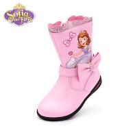 【159元任选2双】迪士尼Disney童鞋18冬季新款儿童天鹅绒靴子甜美公主蝴蝶结皮靴闪灯中筒靴(5-10岁可选)FS