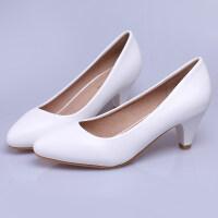 高跟鞋20*码职业正装白色工作鞋女黑色单鞋酒店银行空姐鞋瓢