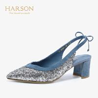 【 限时4折】哈森2019夏季新款亮片宴会尖头女单鞋 通勤后空粗高跟凉鞋HM92401