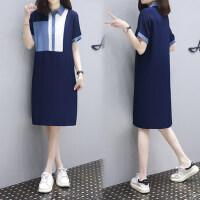 【定制版雪纺拼接裙】时尚Polo领蓝白拼色显瘦T恤裙简约休闲中长款连衣裙