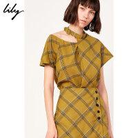 Lily春新款女装复古亚麻不对称挂脖镂空格纹短袖套头T恤8969