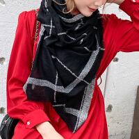 上海故事羊毛围巾披肩春秋冬轻薄蓬松复古格纹毛边长款男女通用围巾