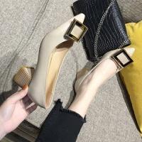 2019春季新品韩版方扣尖头浅口单鞋女百搭粗跟中跟高跟鞋职业鞋 米白色 方扣款