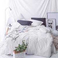 全棉纯棉四件套床单床笠黑白条学生双人单人家居套件床上用品 白色 白条纹