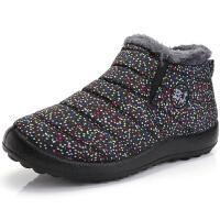 2018冬季女棉鞋老北京加绒保暖妈妈鞋防水防滑中老年女短靴雪地靴 黑花色