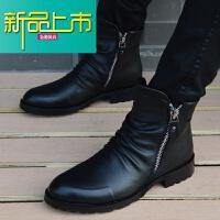 新品上市男靴英伦马丁靴男尖头靴子韩版男士短靴内增高帮棉鞋休闲皮靴