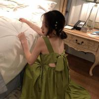 新款连衣裙 2019春夏装新款显瘦纯色气质吊带裙连衣裙宽松中长裙女 均码