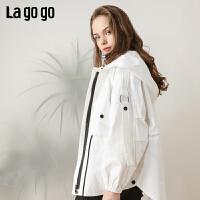 【清仓5折价359】Lagogo/拉谷谷2019春季新款连帽长袖短款宽松外套女IAWW73ZG25