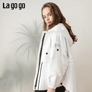 Lagogo/拉谷谷2019春季新款连帽长袖短款宽松外套女IAWW73ZG25