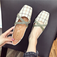 鞋子女韩版英伦格纹方头浅口交叉绑带软底舒适单鞋学生女士低帮鞋