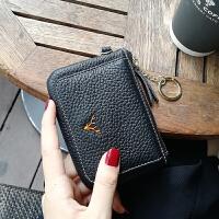 短款小钱包零钱包女一体韩版新款迷你韩版简约卡包女 黑色 现货