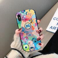 蓝光卡通怪兽iPhone xs max苹果7plus手机壳x可爱情侣8plus创意全包边6s保护套x