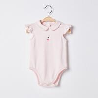 【2件3折 到手价:53】CHULFVEAN初纺 新生儿女婴儿连体衣夏季薄款 纯棉哈衣包屁衣2件装