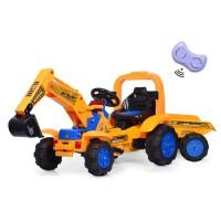 遥控车儿童挖掘机超大型男孩玩具汽车可坐可骑无线双驱挖土1-6岁 +拖斗 售后+赠品