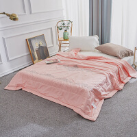 伊迪梦家纺夏凉被长绒棉纯色夏被绣花被芯可水洗单双人夏被子床上用品200*230cm PV025