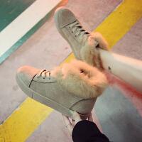 毛毛鞋女加绒板鞋2018新款秋冬季鞋子厚底保暖休闲鞋韩版百搭女鞋