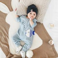 婴儿连体衣春秋款3-6-12个月男宝宝长袖连体衣女新生儿衣服外出服