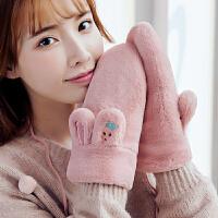 手套女冬可爱加绒加厚防风防寒保暖挂脖韩版日系学生冬天时尚潮流