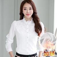 女士衬衫长袖雪纺衫高领打底衫蕾丝衫新款韩版修身潮