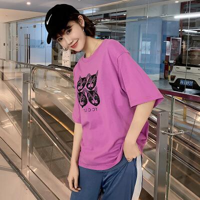 猫咪印花短袖孕妇T恤夏季孕妇装韩版中长款百搭上衣大码女Y-1910