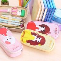 韩国文具简约小清新甜甜公主笔袋大容量PU铅笔盒创意学习用品男女