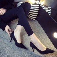 大码职业高跟鞋正装3-5cm浅口小清新黑色学生礼仪单根工作绒面女
