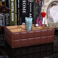 创意五格遥控器盒 简约木质办公桌面化妆品工具收纳盒 多功能家用手机座遥控器盒抖音
