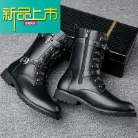 新品上市马丁靴男冬季加绒韩版潮流靴子男高帮中筒男士皮靴雪地
