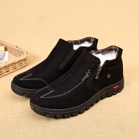 布鞋男鞋羊毛加厚保暖高帮鞋滑中老年爸爸鞋棉鞋 黑色