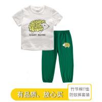 【3件2折价:45元】斯提妮童装儿童短袖t恤 卡通印花防蚊运动长裤 夏季休闲男女童套装