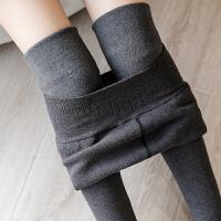 黑色平板棉打底裤包脚连袜大码胖mm冬季加绒加厚外穿一体裤女士