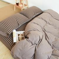 良品针织棉四件套无印棉简约天竺棉被套1.8米床笠床上用品q