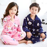 秋冬儿童法兰绒睡衣套装女孩男童男孩小孩宝宝珊瑚绒女童装家居服