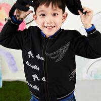 【2件3折价:191.7元】马拉丁童装男大童外套春装2020年新款帅气黑色夹克儿童短外套