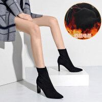 高跟短靴女尖头袜子靴粗跟2019新款秋冬瘦瘦靴短筒百搭弹力马丁靴