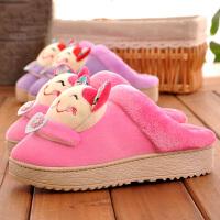 冬季家居棉拖鞋女情侣款居家用室内防滑厚底软底可爱保暖月子鞋男