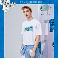 【直降�r:40】森�R短袖T恤男2021夏季新款��松撞色印花潮上衣