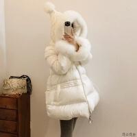 2018年冬季新款大毛领修身白色斗篷中长款小个子羽绒服女款 X