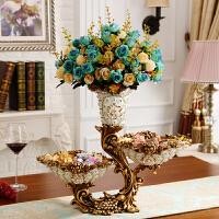 奢华花瓶摆件欧式客厅插花干花瓶复古创意家居个性餐桌装饰品摆设 白色 配6束花