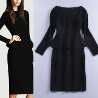 新年特惠2019秋冬季新款欧美加大码女装长袖荷叶边修身职业装连衣裙 黑色 X