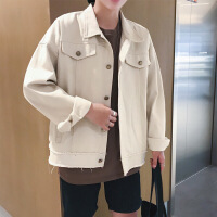 【秋冬新品】季新款休闲纯色牛仔夹克男士翻领茄克衫青年日系复古外套潮