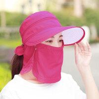 帽子女士夏天遮阳帽户外防紫外线沙滩太阳帽骑车遮脸防晒帽